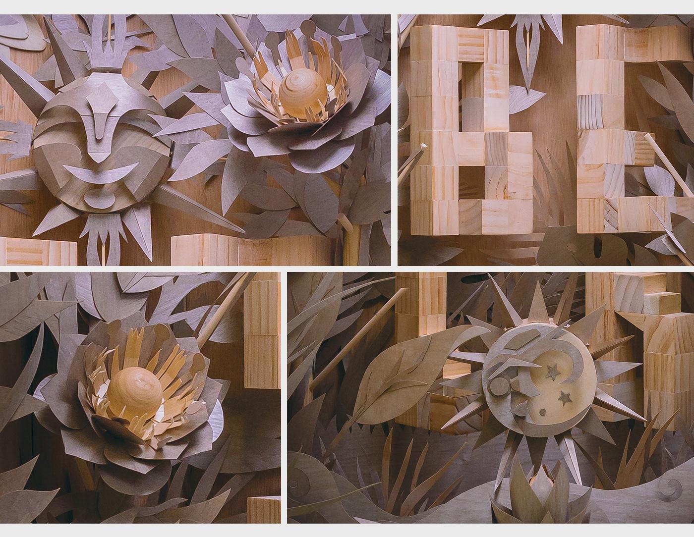 AR poster wood sculpture handmade lettering Flowers floral PosterArt music