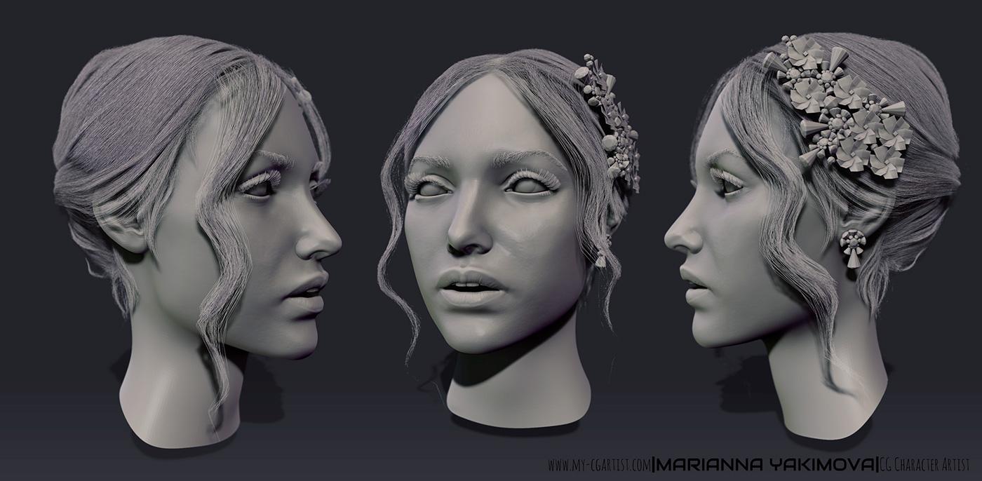 concept Zbrush hair Fashion  sculpture 3D 3d art beauty woman colors