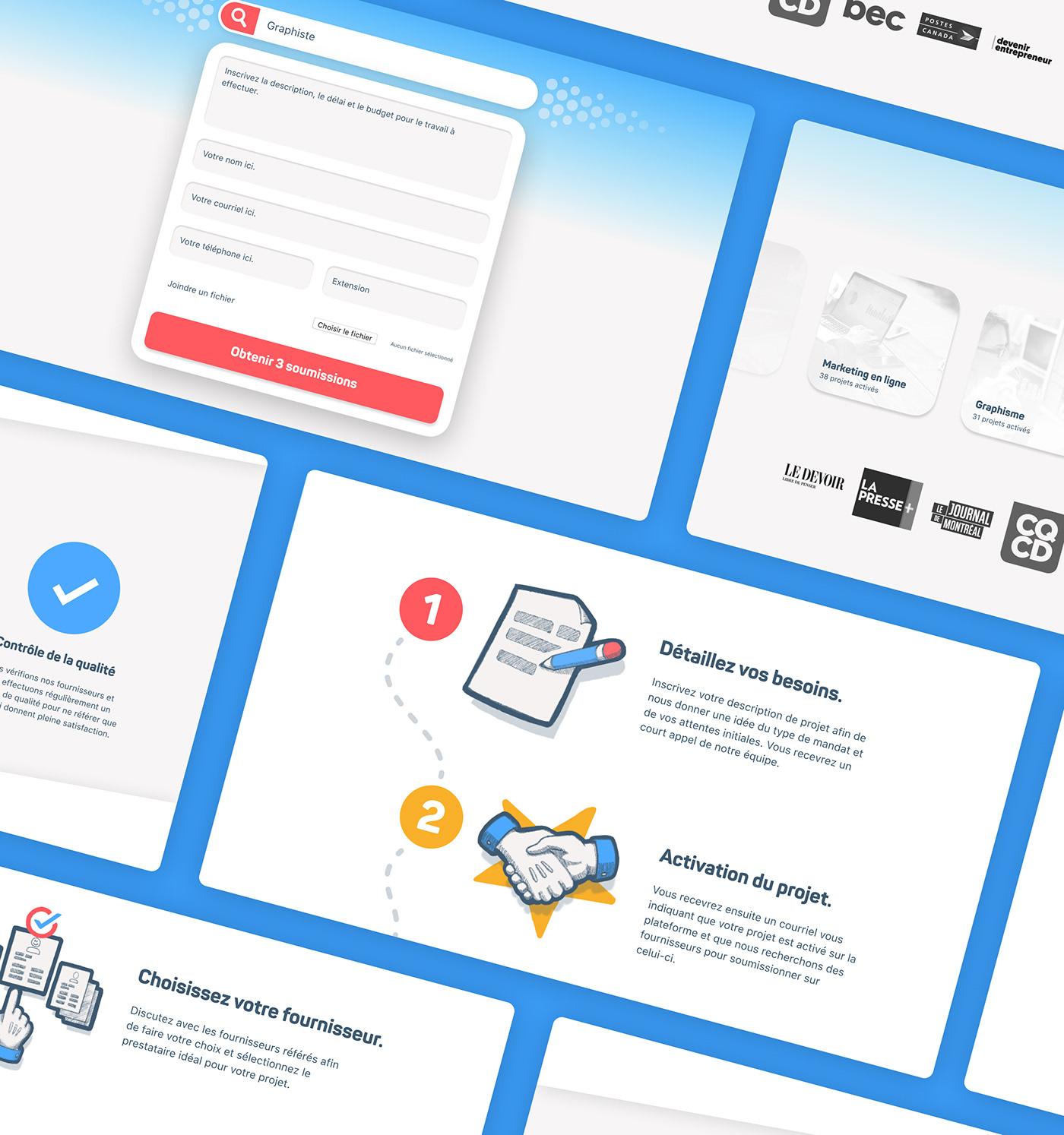 Pages de la plateforme web de B2B Quotes.