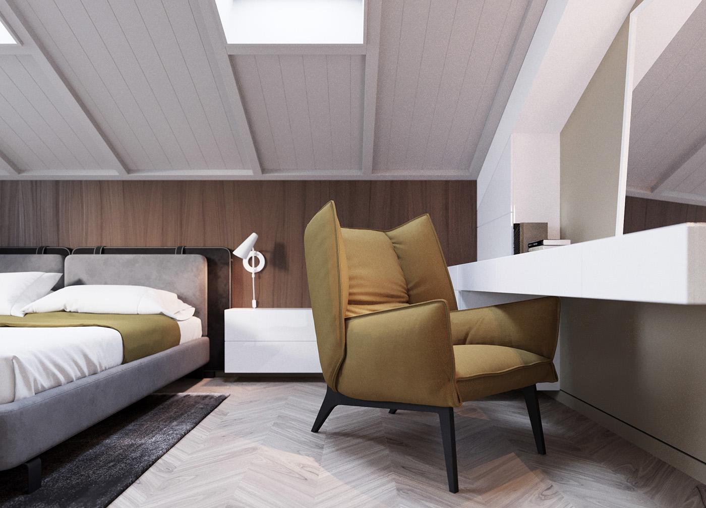 Interior design contemporary modern bedroom Hall furniture