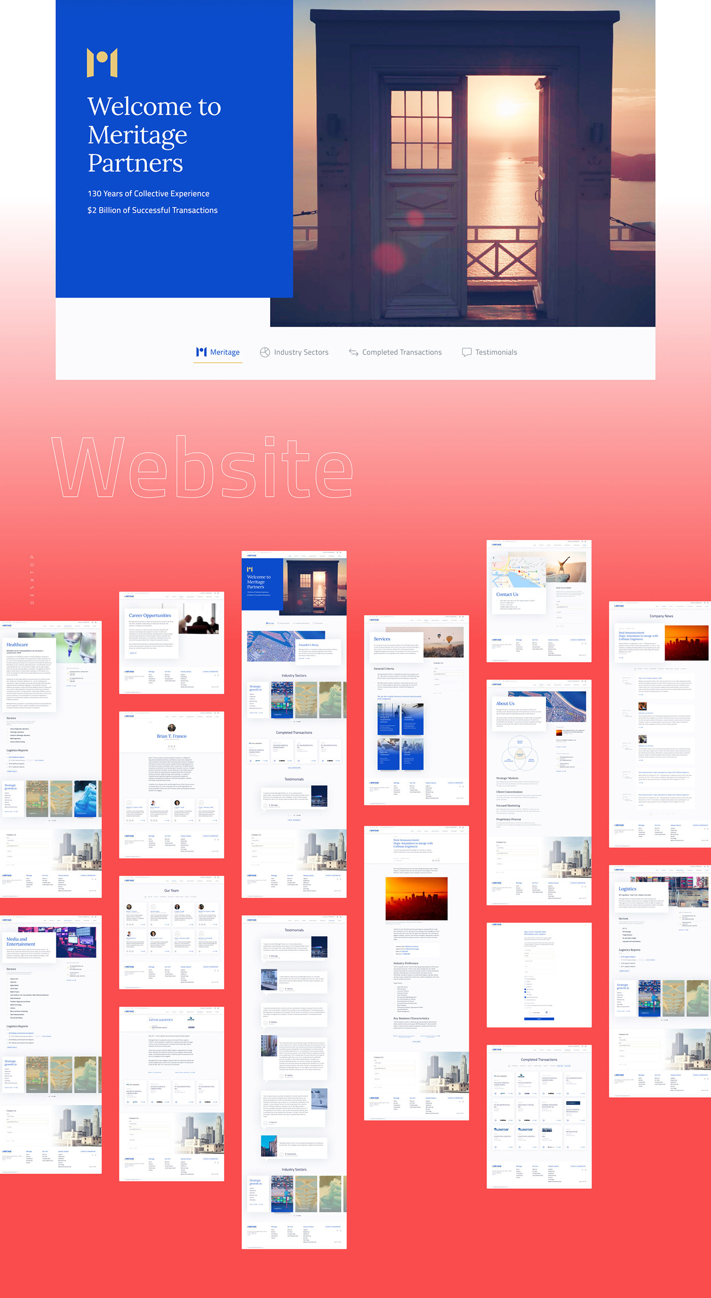 Website rebranding design. Tiles of desktop screens
