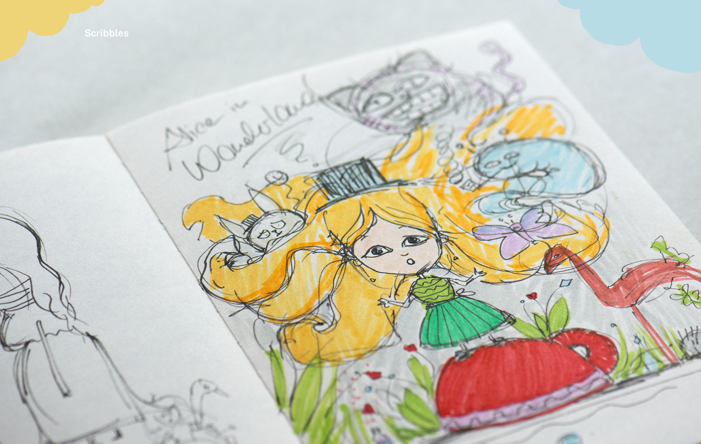 clay polymer clay fimo sketch sketchbook Kidsbook cover alice in wonderland ILLUSTRATION  mixed media