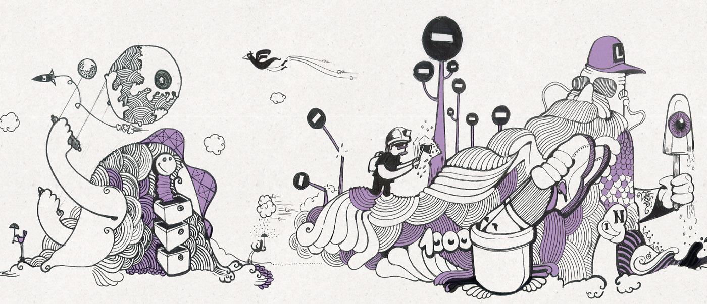 Mural typography   banding wunderman ILLUSTRATION  Drawing  alegoria allegory curiosity