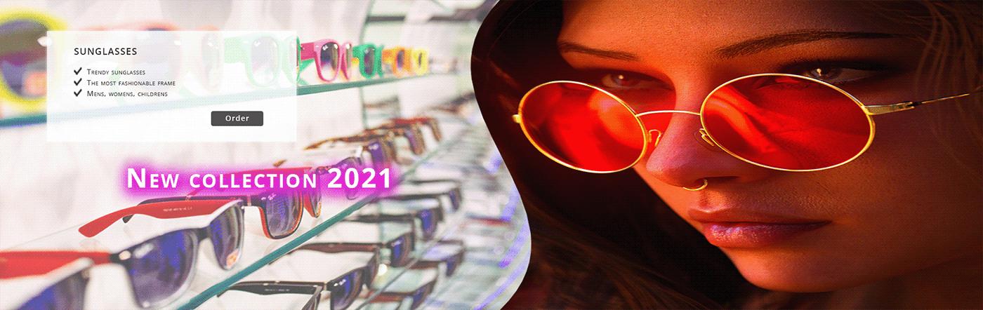 Sunglasses banner for site slider / Баннер солнцезащитных очков для слайдера сайта