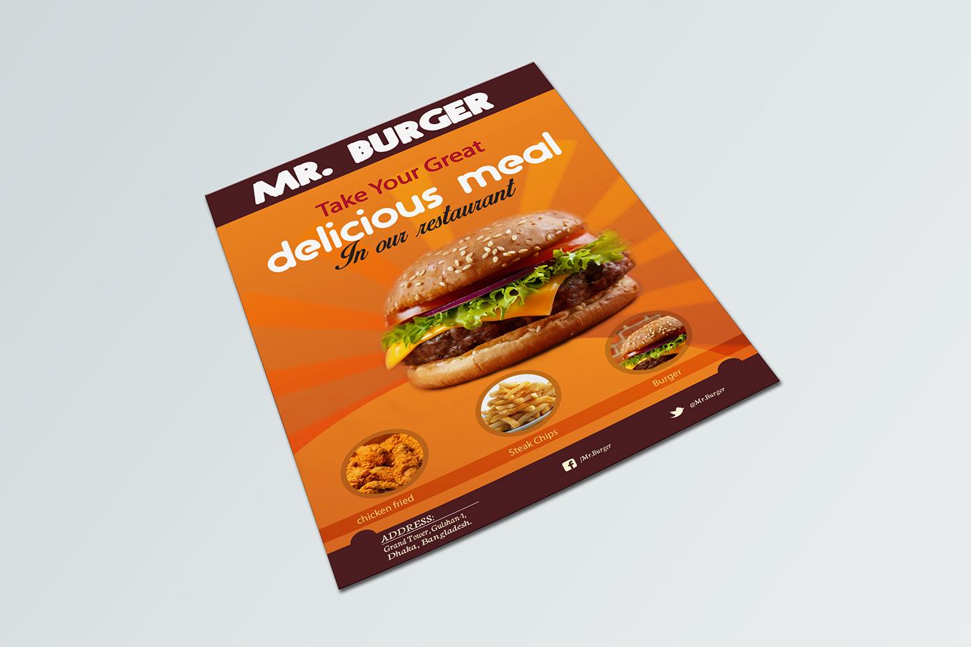 restaurant flyer design mockup freebie on behance