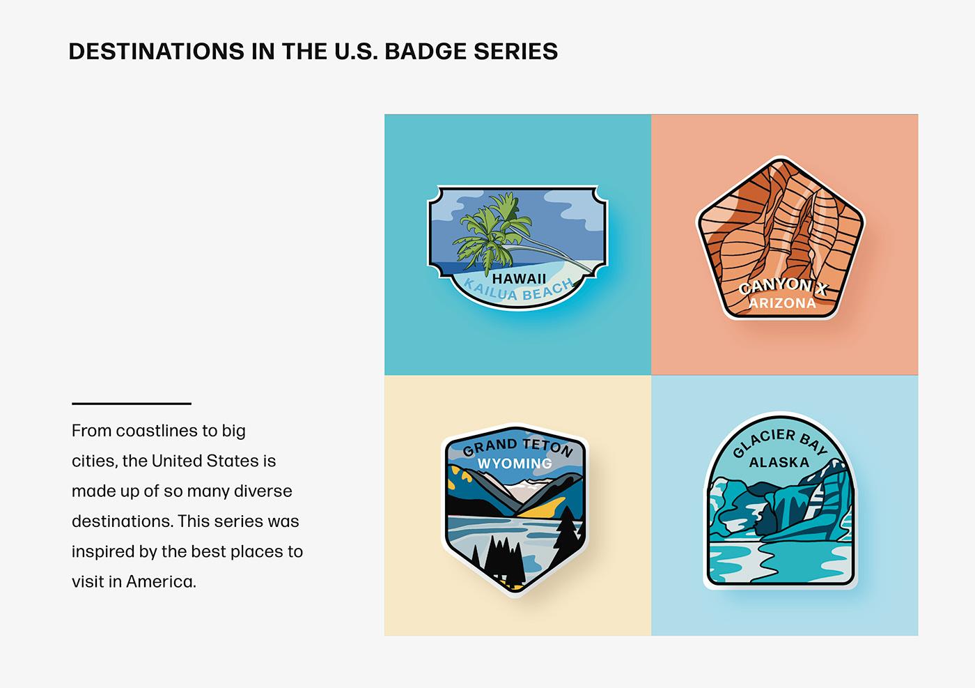 badge logo destinations united states badge pack branding  ILLUSTRATION
