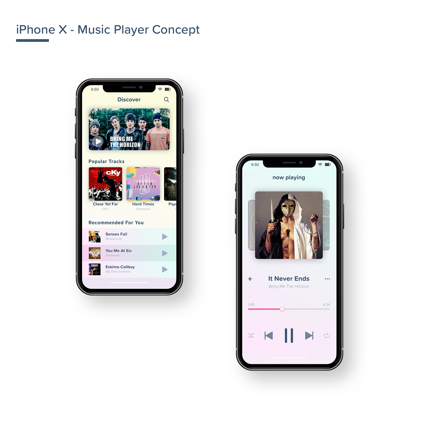 music player for iphone player ui concept iphone x on behance 15724