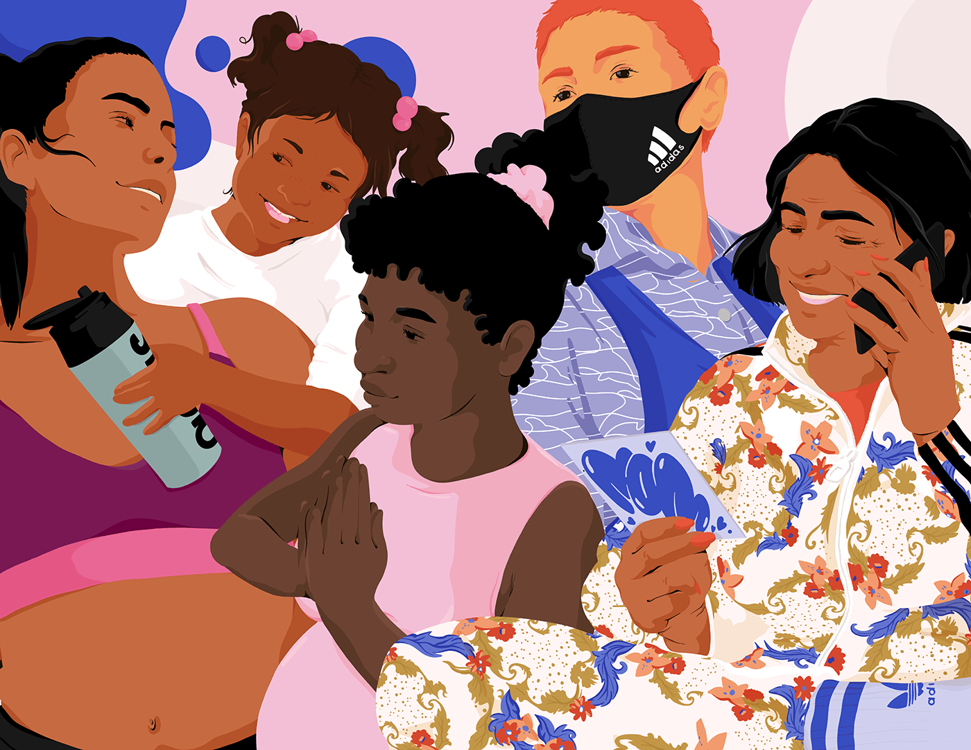 Divers womxn and mothers in colorful clothes form adidas.