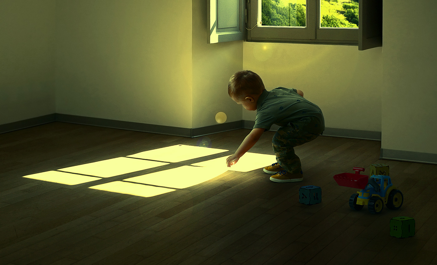 surreal retouching  Window boy light shadow Fun Love photomanipulation concept