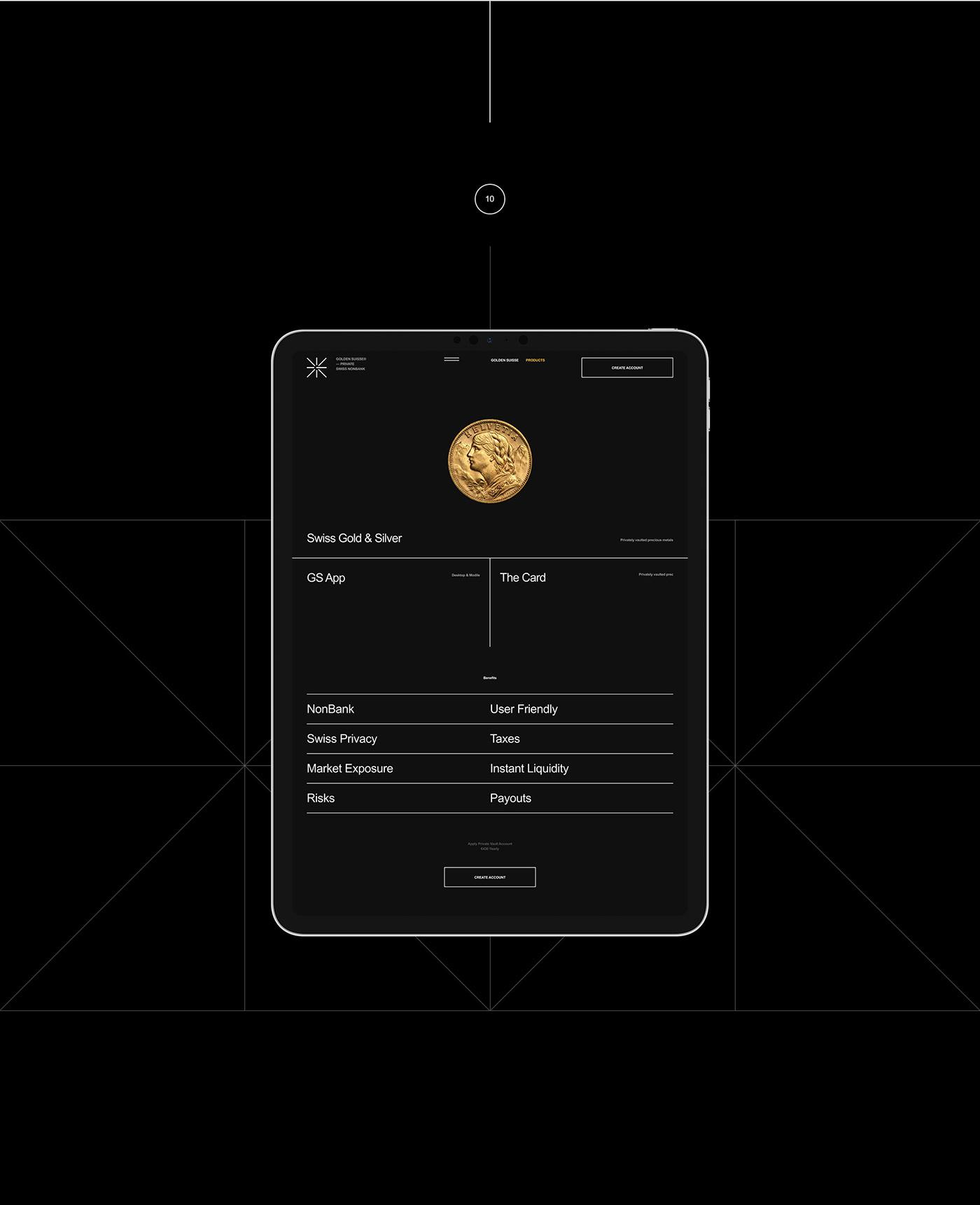 banking black clean gold minimal mobile promo Suisse Web Webdesign