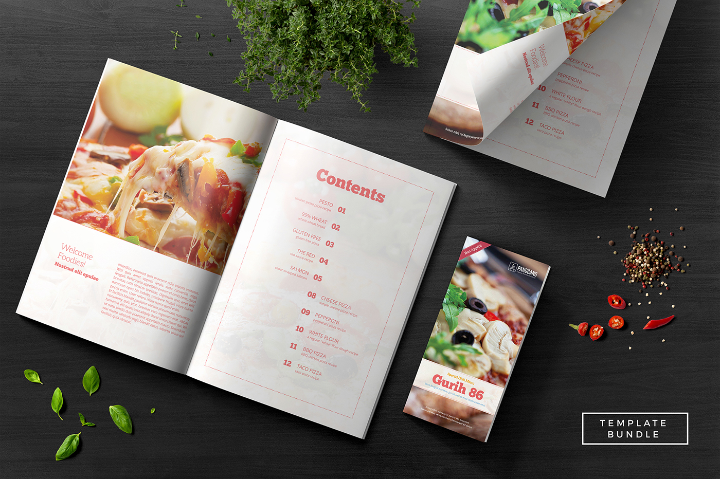 Gurih Recipe Book On Behance - Adobe indesign cookbook template