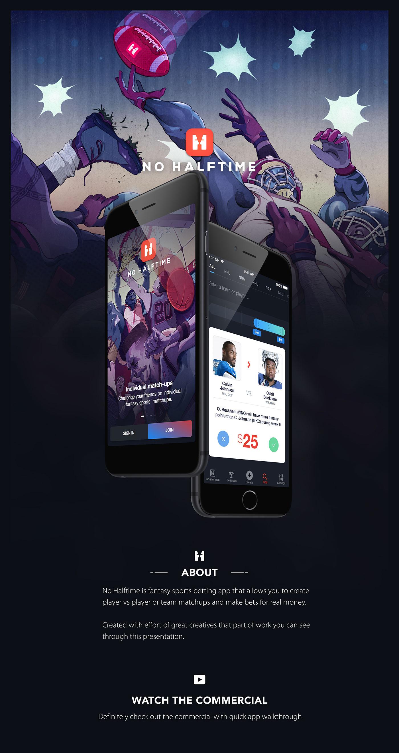 Adobe Portfolio app UI sport bet matchup fantasy sports cards samborek sambora no halftime interaction betting