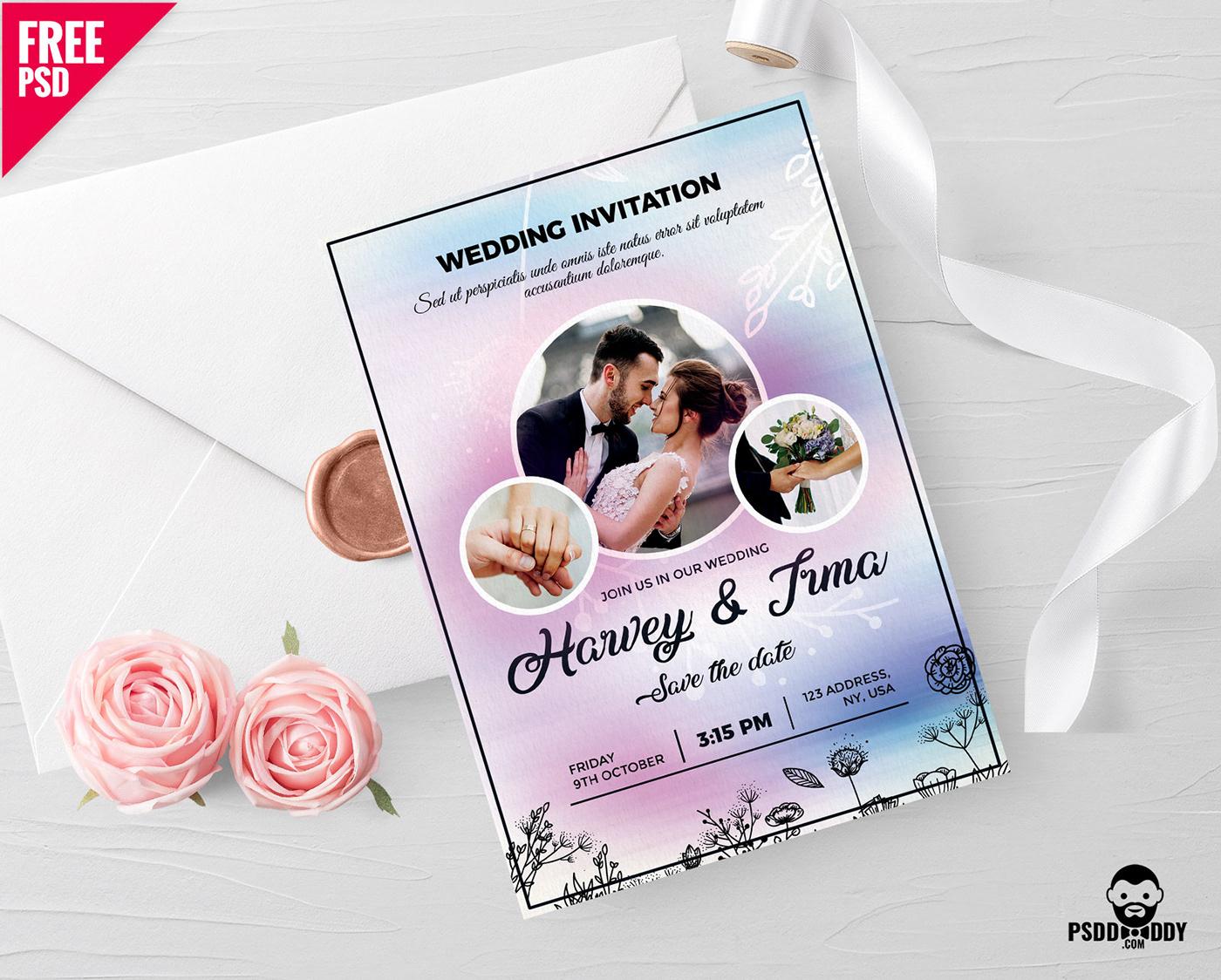 wedding Invitation marriage card psd freebie download Wedding Card Invitation invite flower ribbon