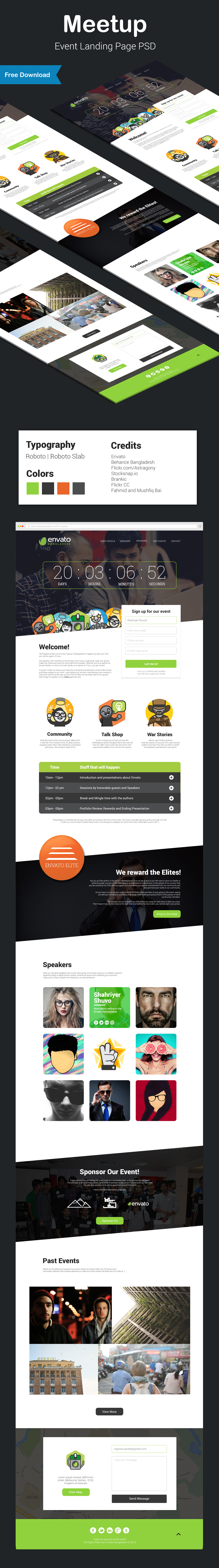 envato meetup community Event landing page user Interface Web design Experience flat icons marketing   Meet
