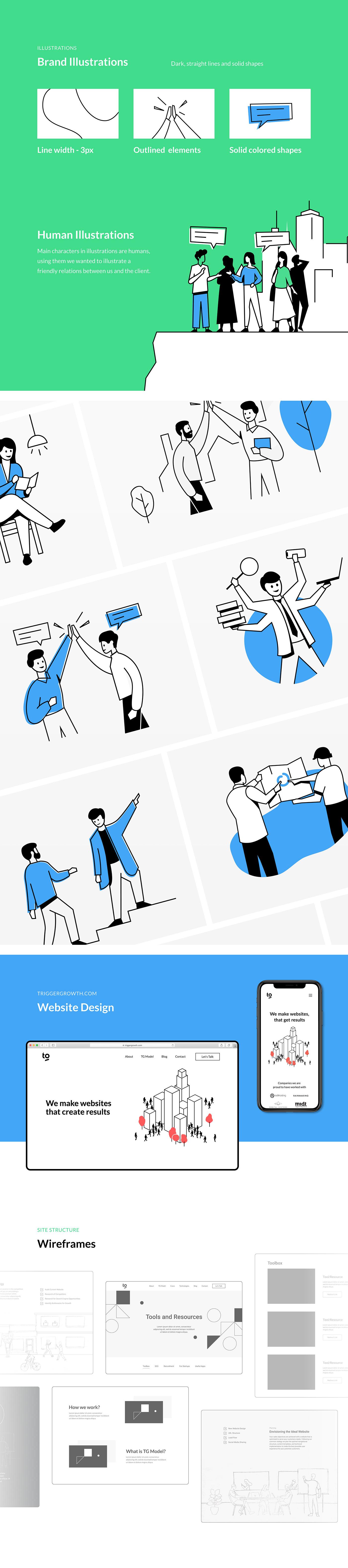 brand identity branding  illustrations Logo Design redesign revamp Trigger Growth UI/UX Web Design
