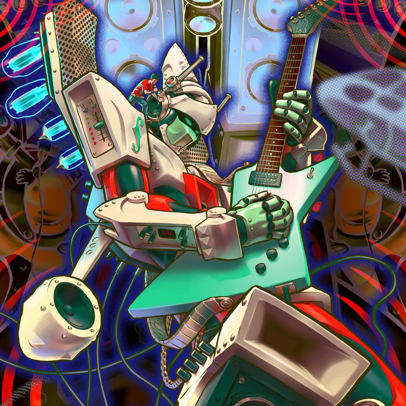 giant guitar robot speaker Amp rock bash sxsw Katakana japanese Guitar Pedal festival