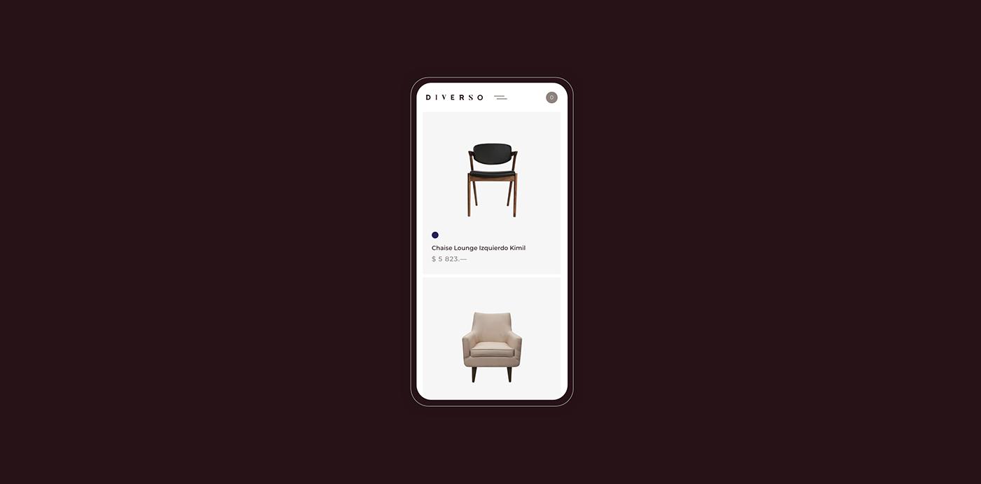 Interior studio UI furniture branding  Ecommerce mobile tablet concept ux