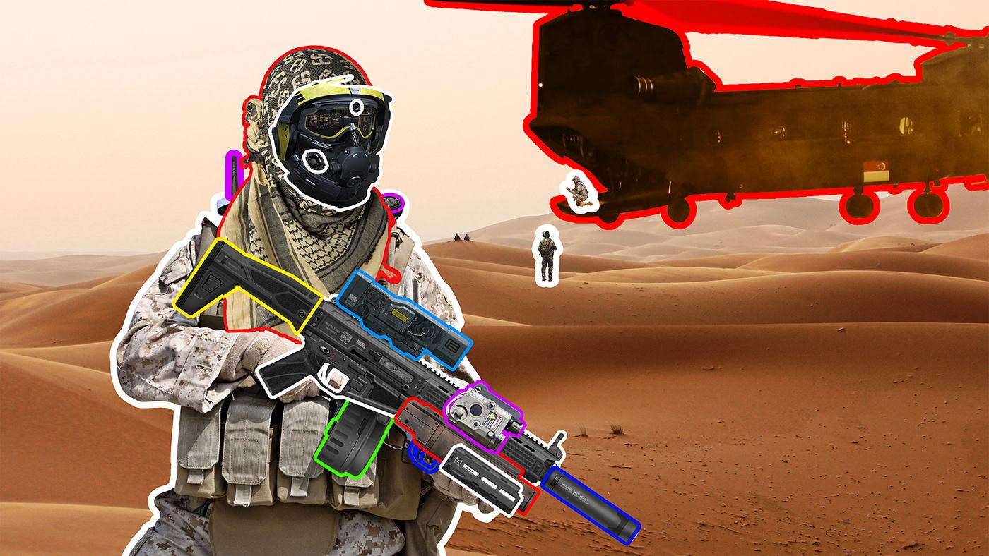 mercenary photomanipulation helicopter Weapon mask Military desert soldier future strike