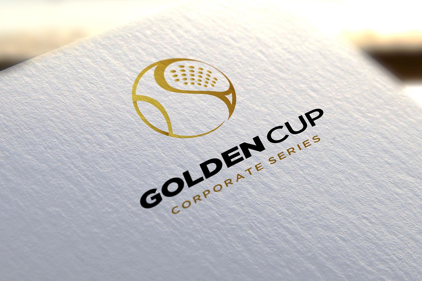 Padel golden cup Logo Design