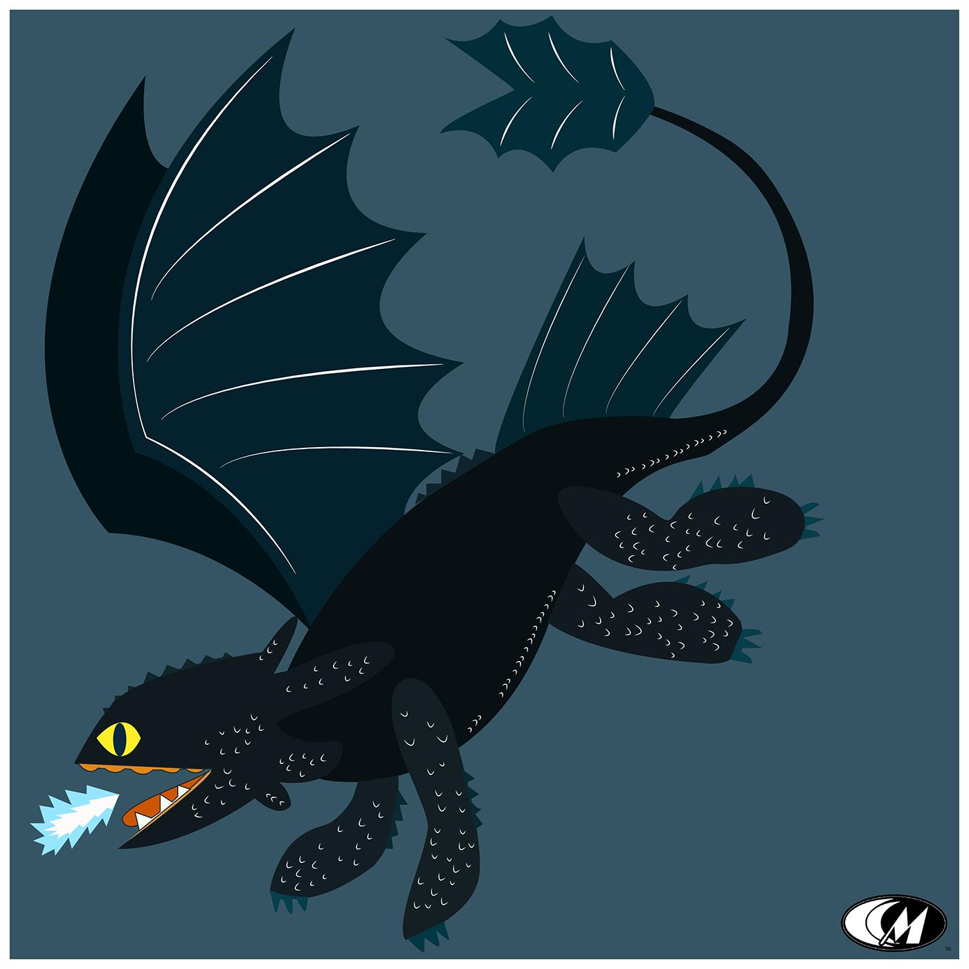 dragon night fury Toothless vector design ILLUSTRATION