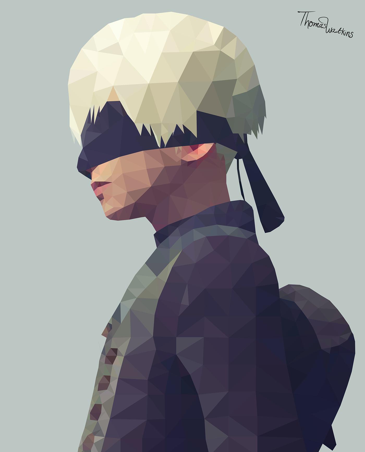 polygon art nier automata 9s