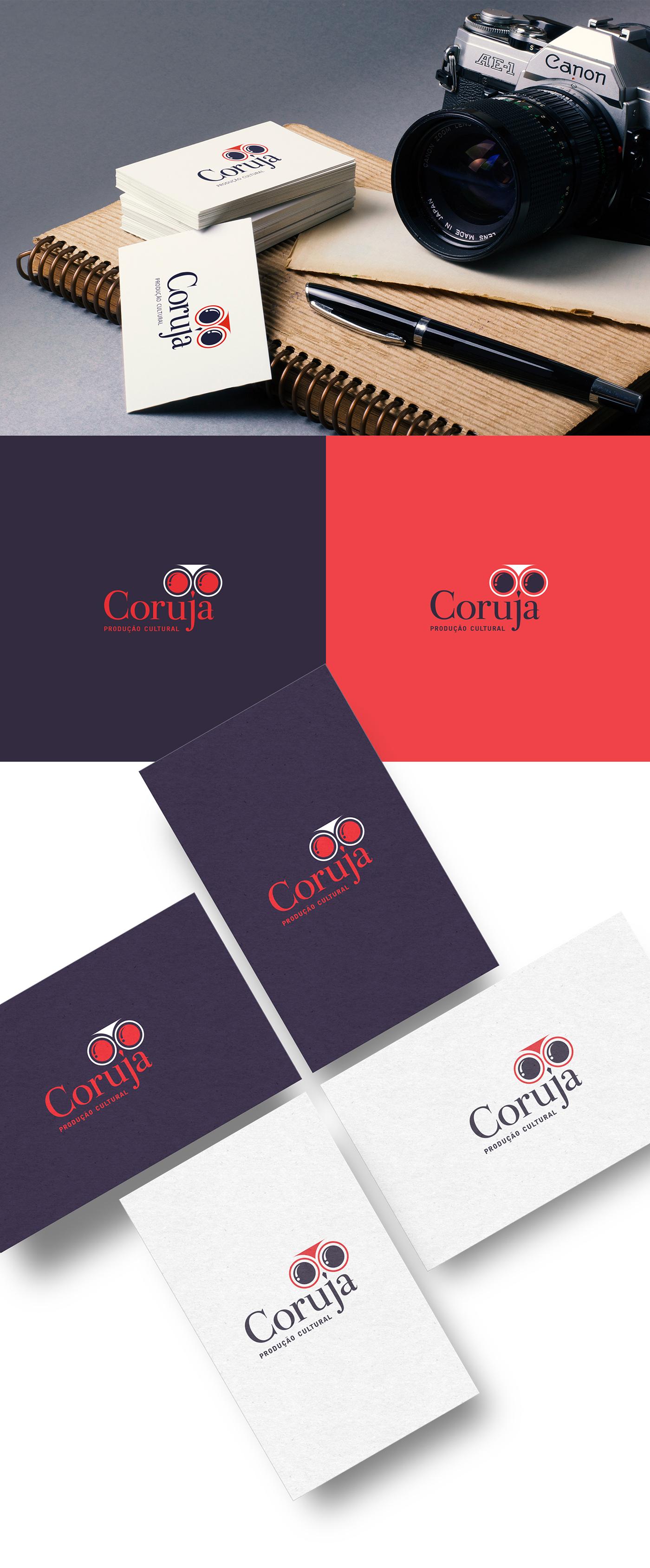 audiovisual cultura Coruja Produção owl brand logo culture eyes