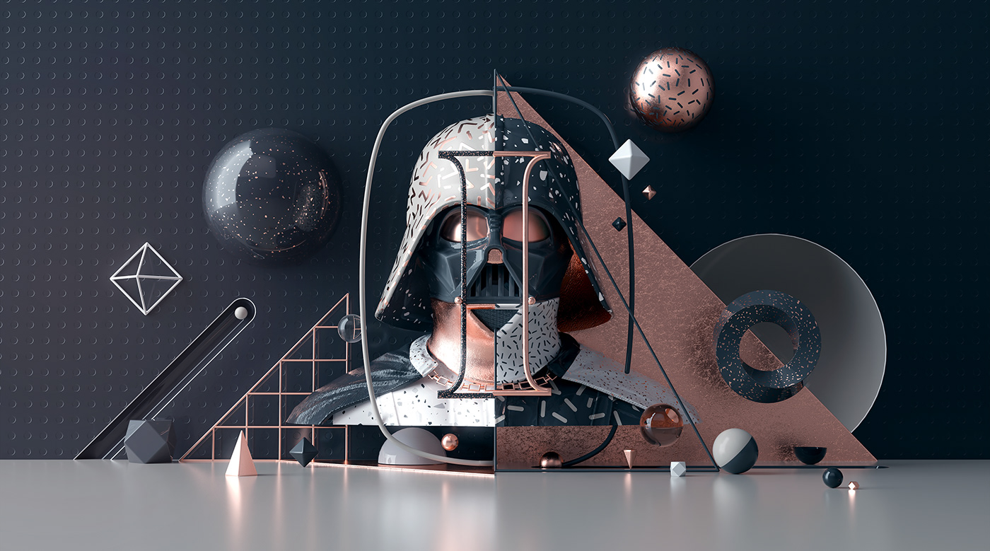 dark vador daft punk david bowie Icon art music copper 3D c4d texture