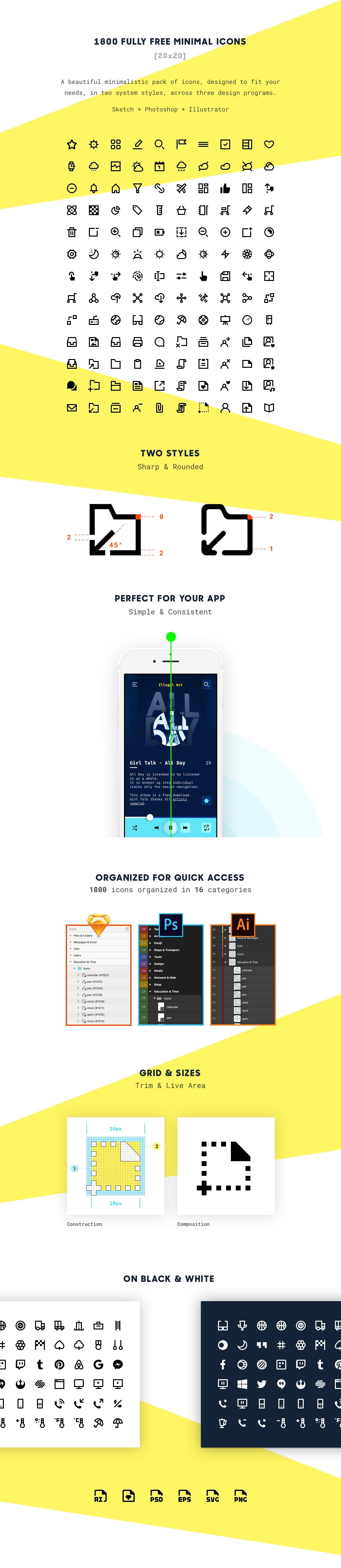 icons free minimal freebie sketch psd ai set Web app