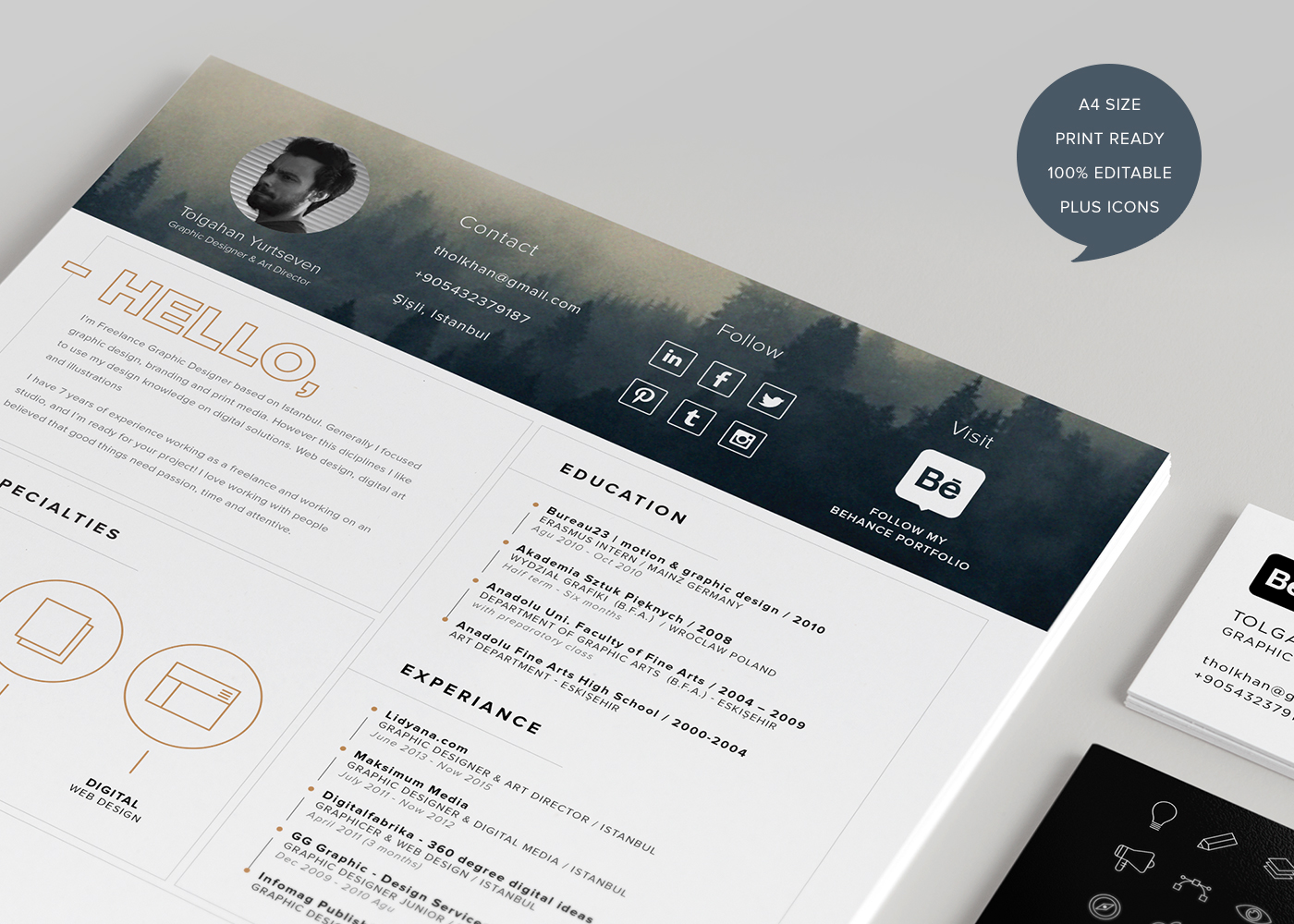 free resume template   icons  self promotion  on behance