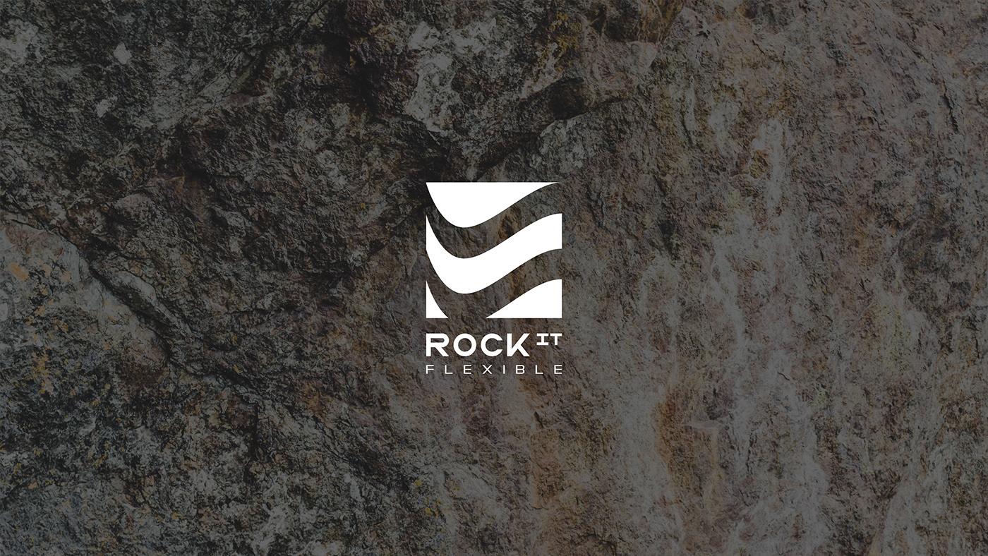 brand identity branding  company flexible stone logo Logo book minimalistic rock sign stone