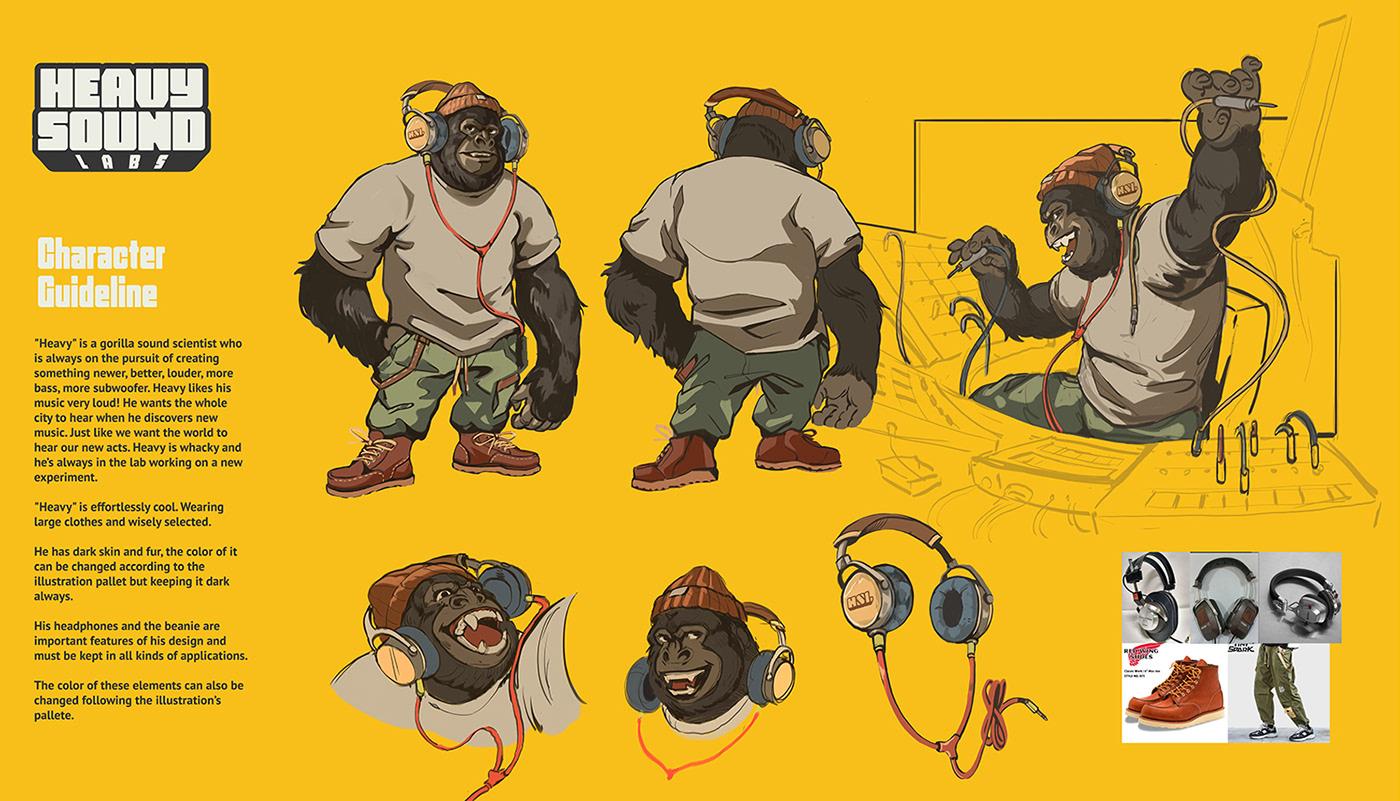 branding  gorilla hip hop identity monkey music nyc Retro vintage