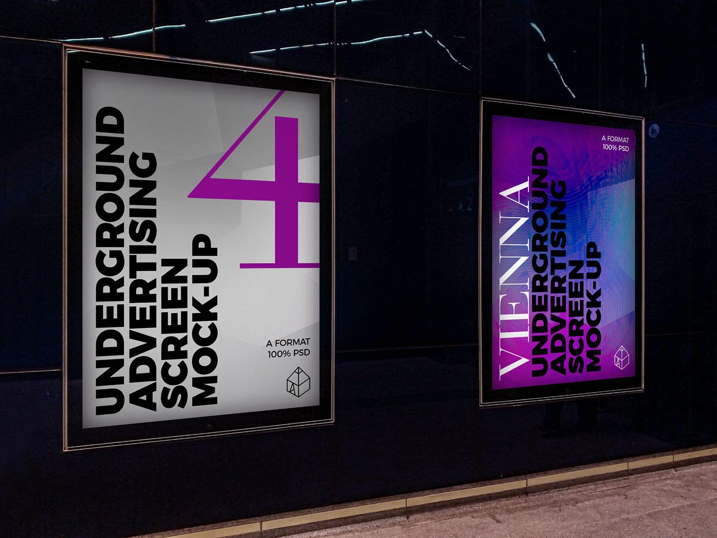 ad Advertising  metro mock-up Mockup poster screen STATION underground vienna