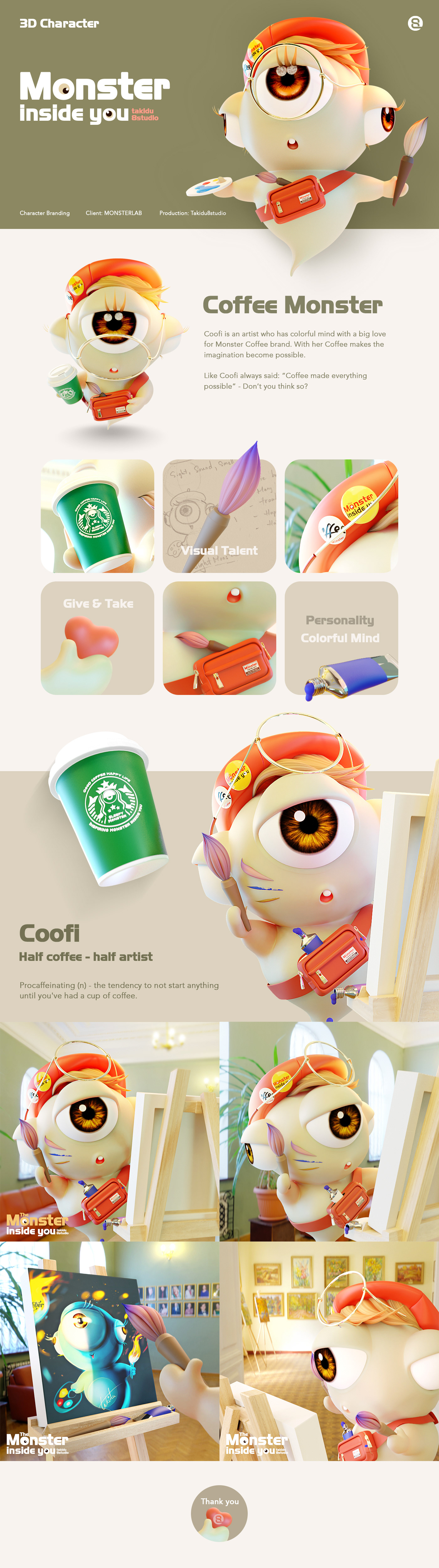 Coofi is an artist who has colorful mind with a big love for Monster Coffee brand.