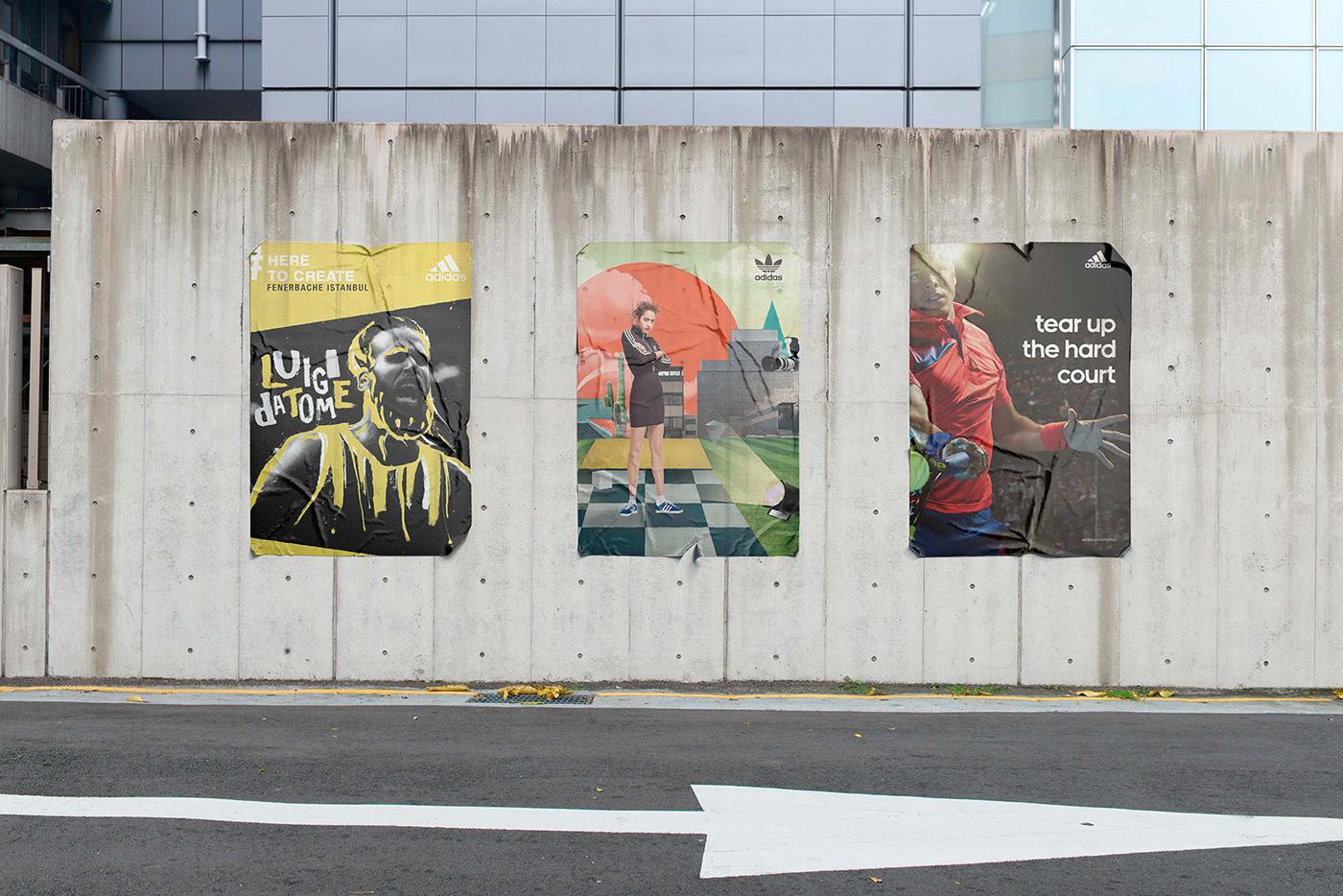 Мокап плаката на стене на улице
