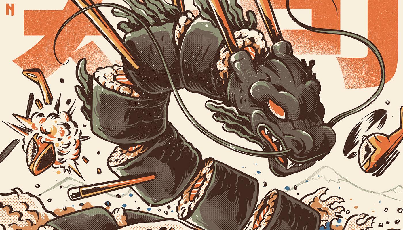 japan japanese Ilustração halftones Food  Sushi dragon kaiju Retro Great Wave