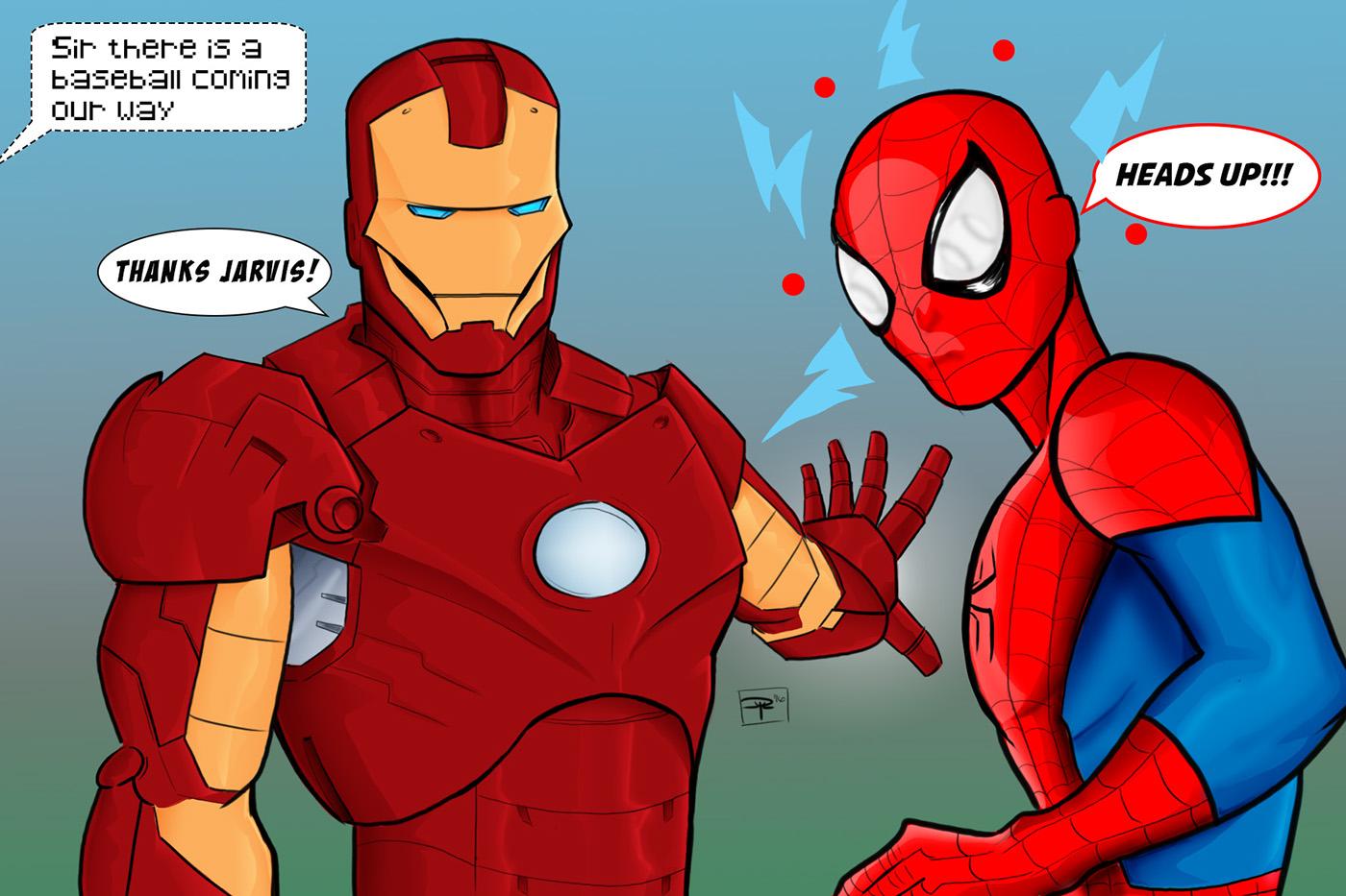 marvel spiderman ironman photoshop Digital Art  wacom