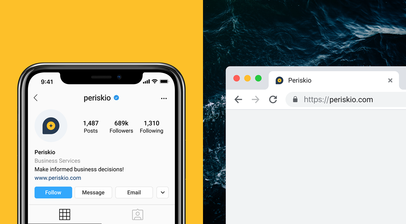 Instagram avatar with Periskio icon on iPhone X and favicon in a Google Chrome Mockup