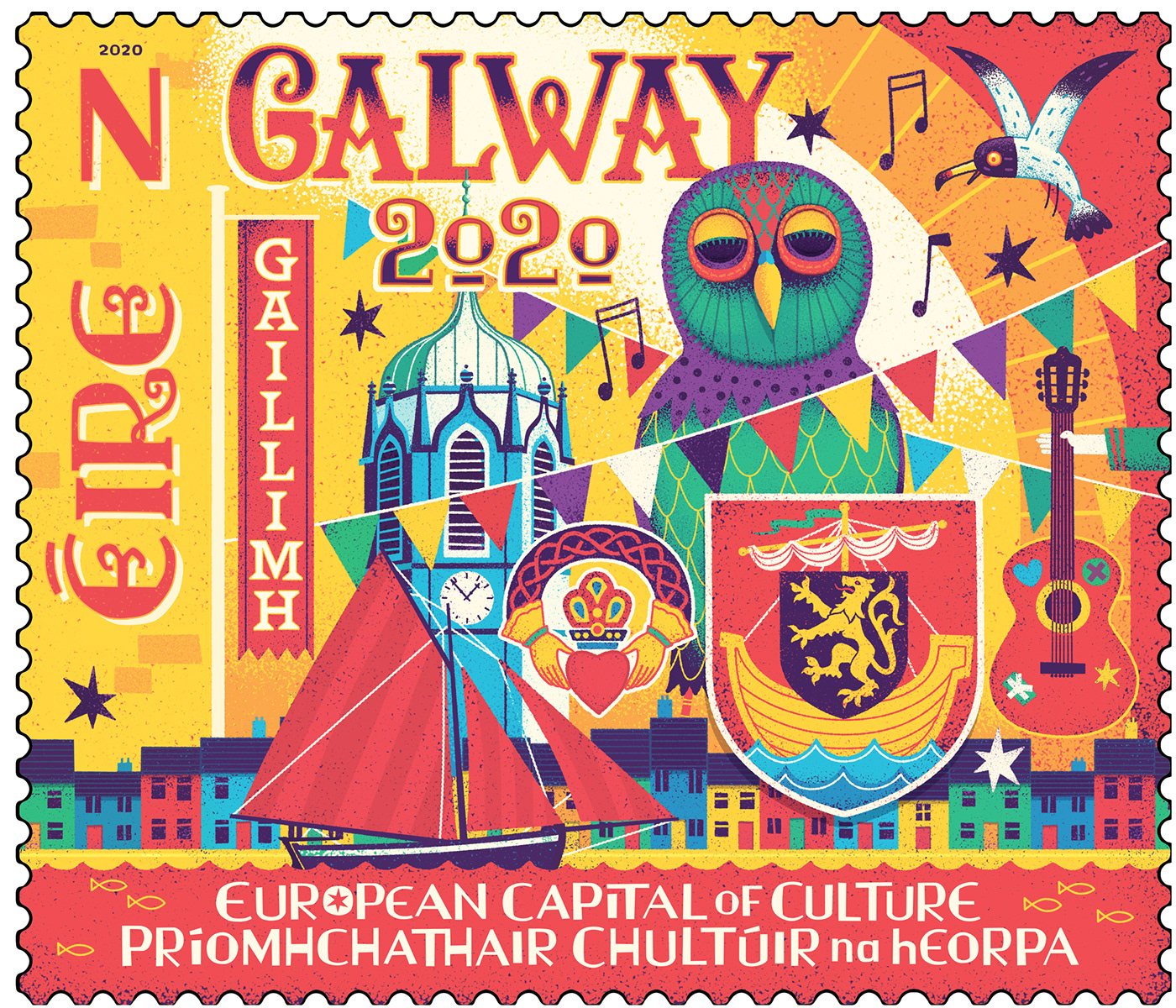 stamp,Galway,map,illustrated,HAND LETTERING,music,buildings,busker,Ireland,irish