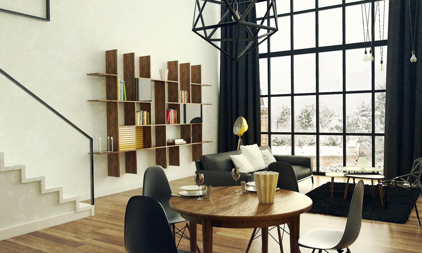 Interior Render visualisation LOFT