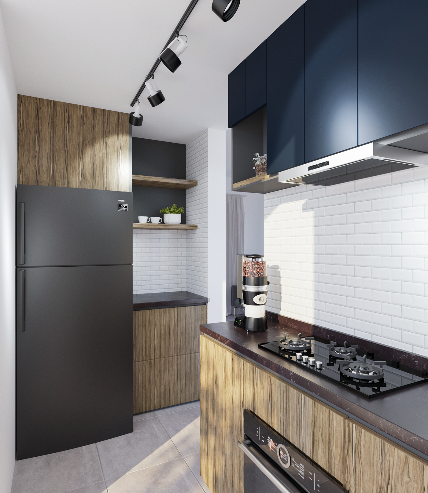 Small Kitchen in Malaysia Industrial Style Designed
