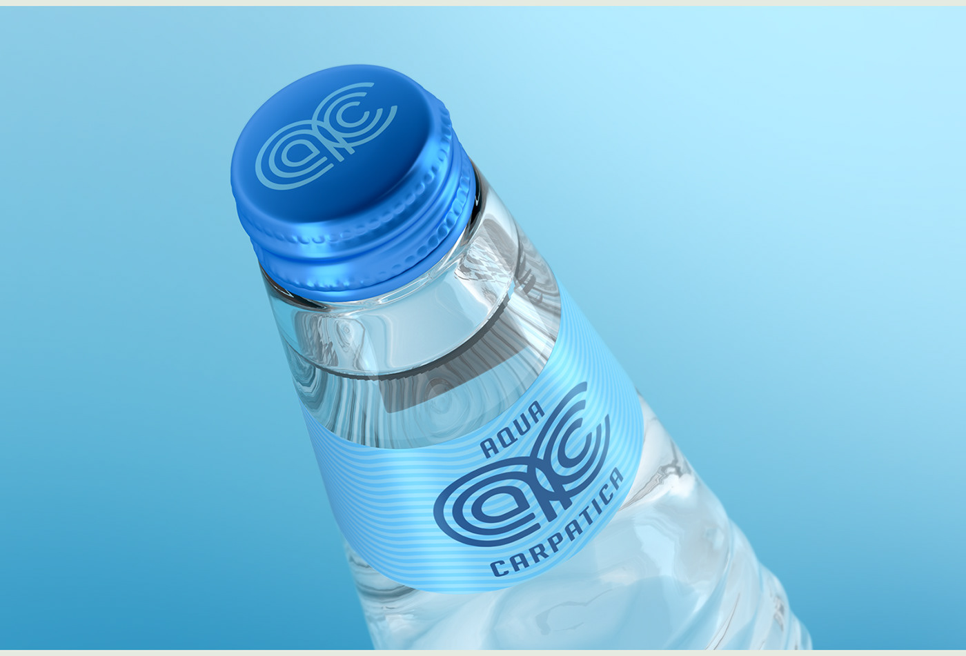 bottle mineral water spring concept aqua carpatica premium glass ripple AC pure pristine austere mineral water