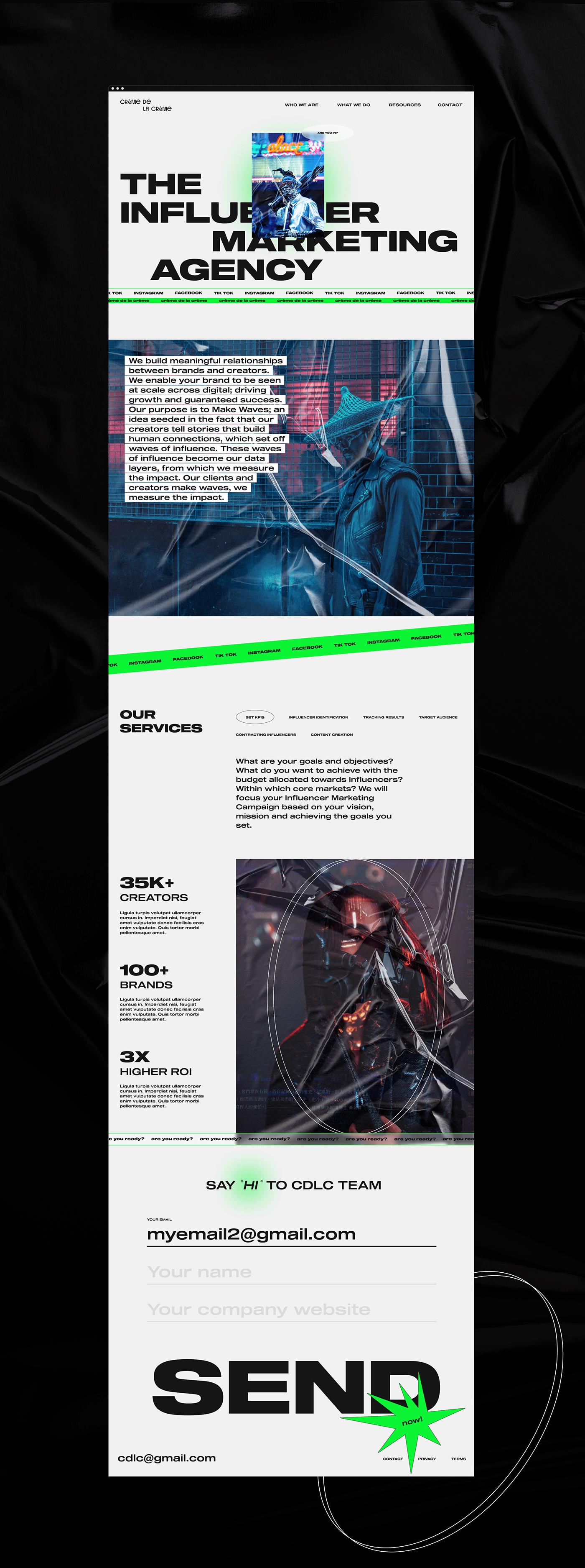 agency factory Figma INFLUENCER landing page Minimalism social media UI/UX Design Web Design  Website