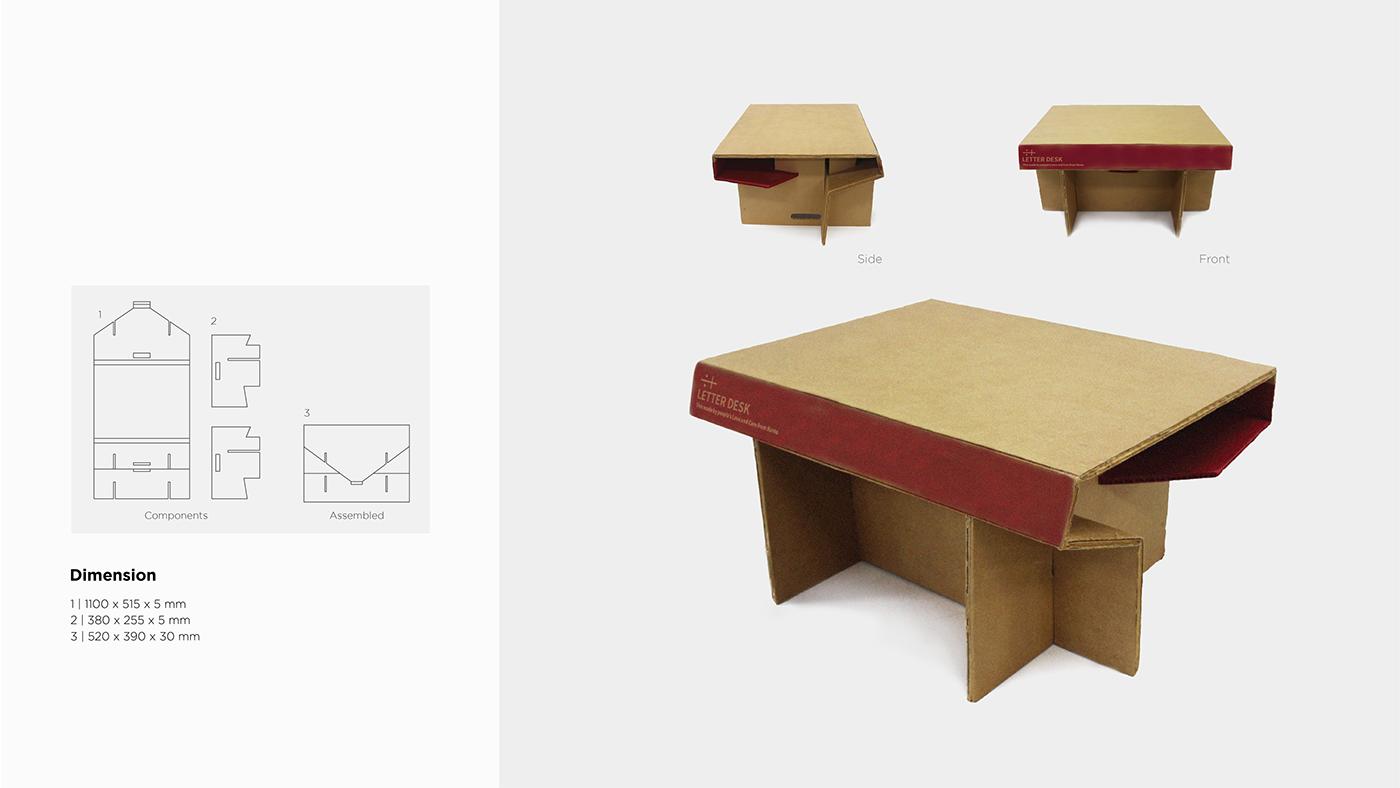Foldable paper desk structure universal India kids children Third World indian