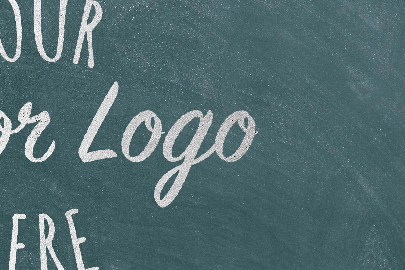 Mockup psd photoshop chalk blackboard logos textures Hipster graphic design