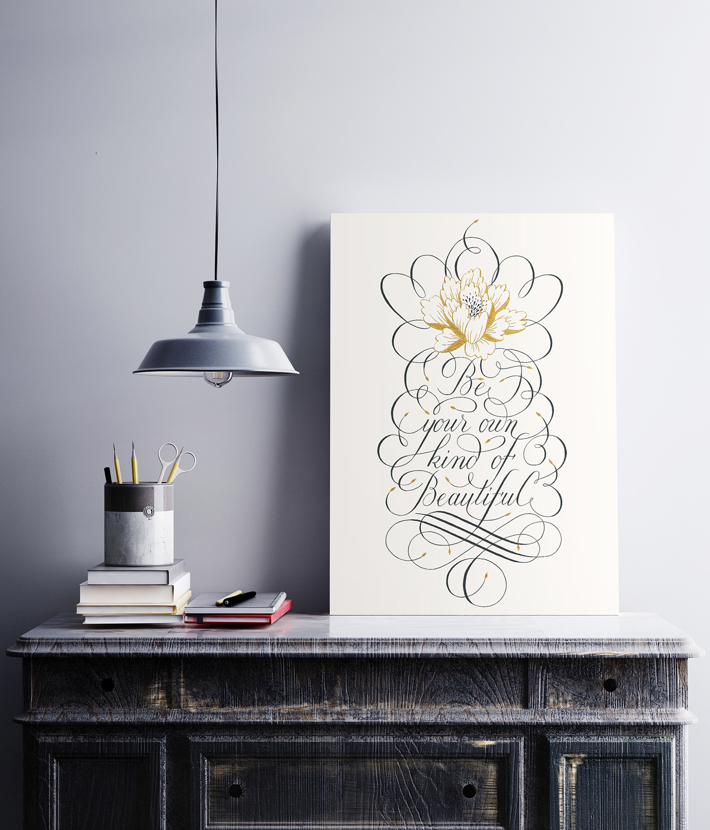 Calligraphy   lettering typography   poster ornament flourish flower gold letters swash