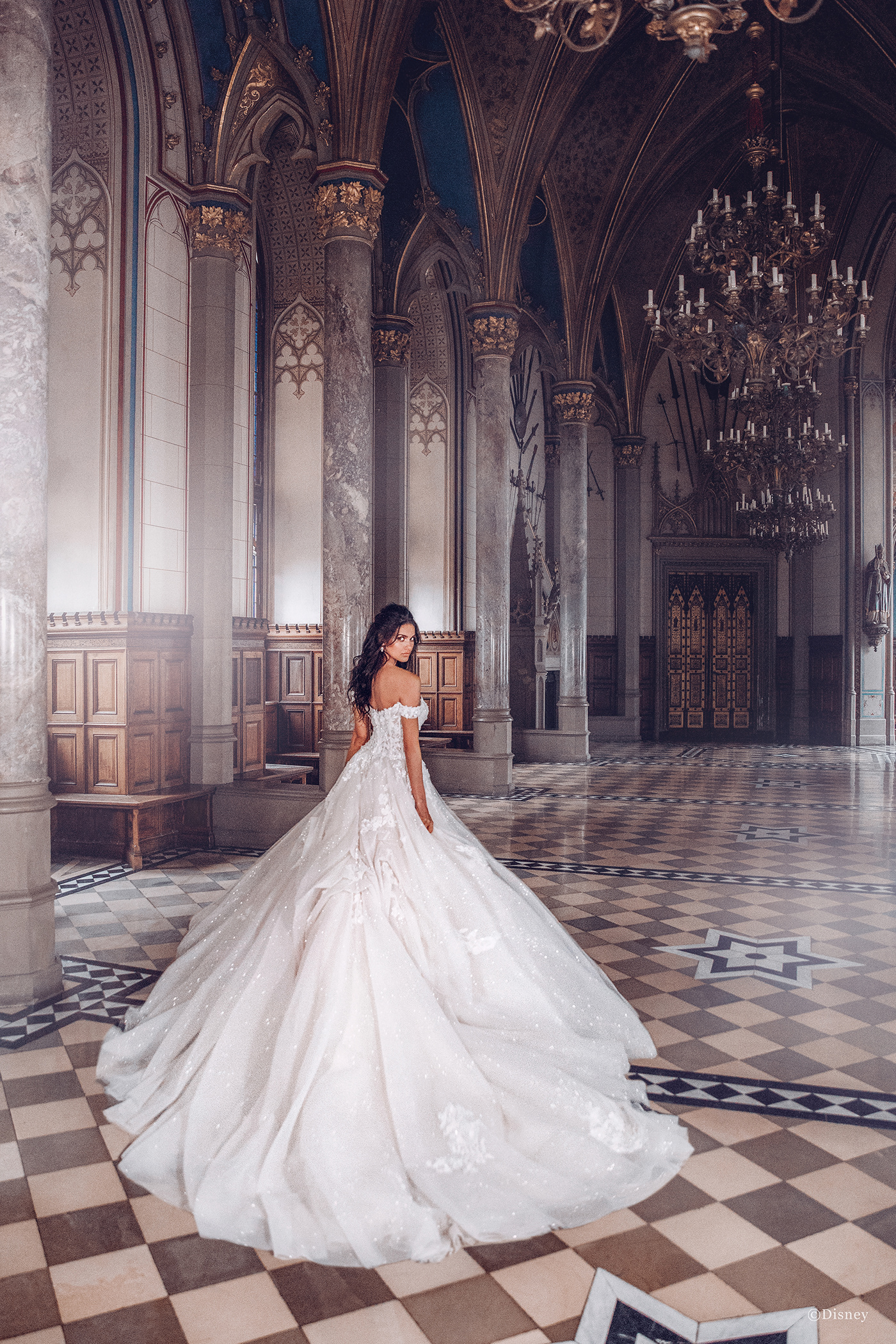 Image may contain: wedding dress, indoor and bride