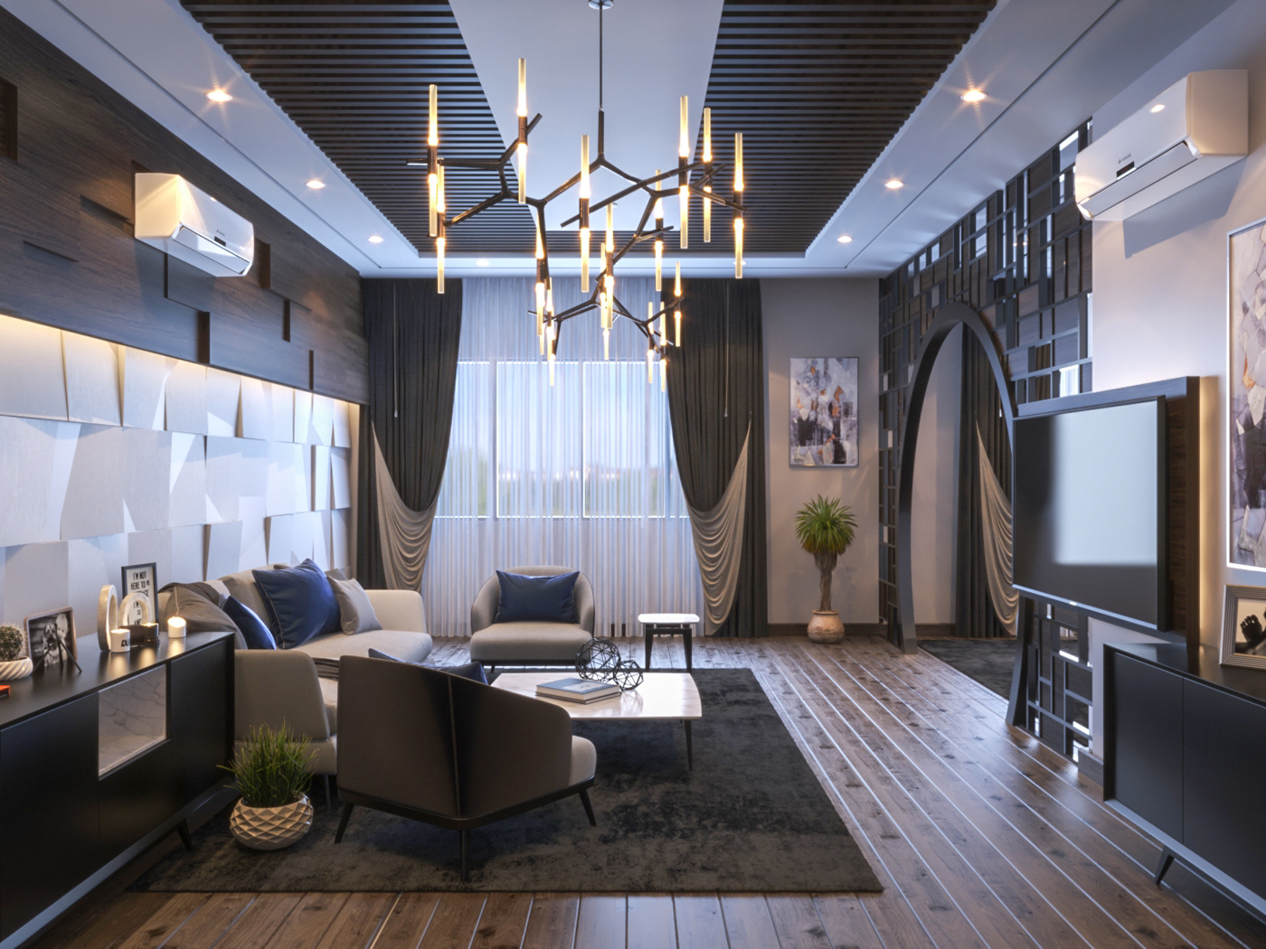 Interior design decor home Villa bedroom moder Render realistic free