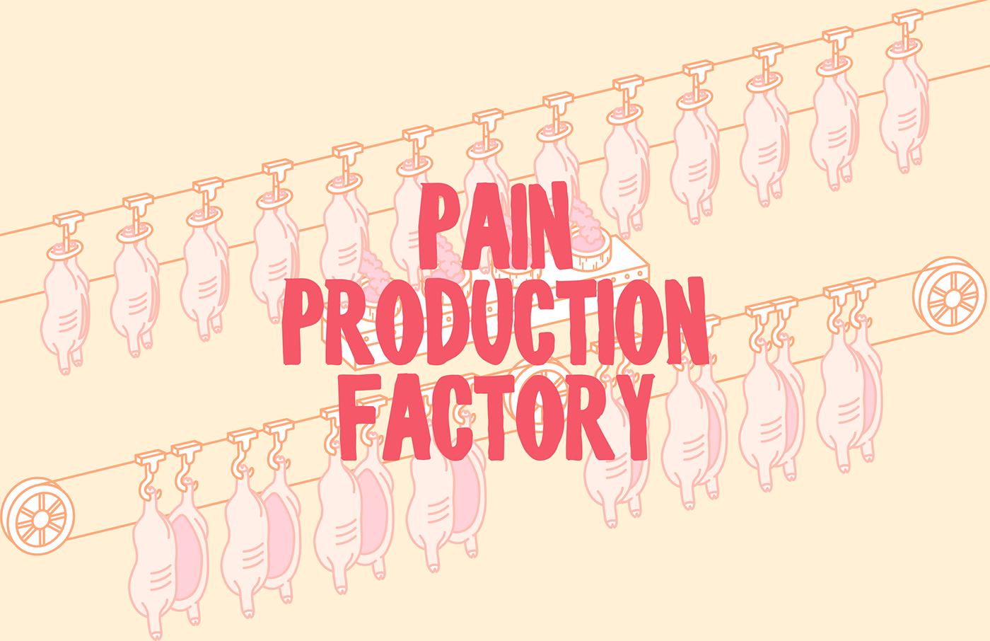 ILLUSTRATION  infographics pig Livestock meat factory process