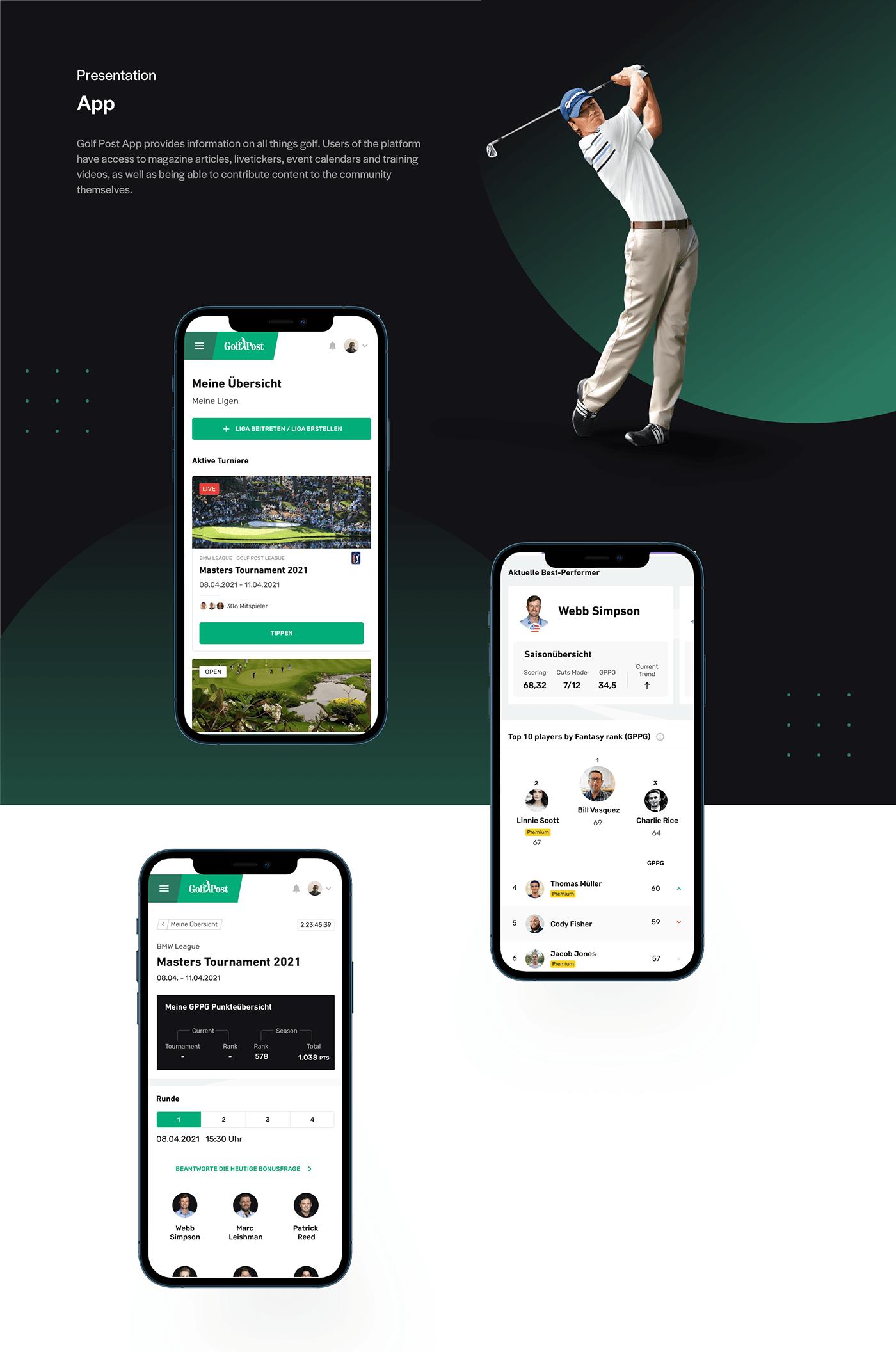 app golf product design  UI ui design ux Website dark mode user experience user interface