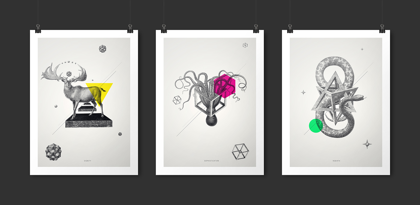 Archetypes collage animals Space  geometry minimalistic poster print